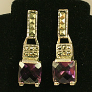 Pair Vintage Sterling Silver Earring w/ Marcasites and Purple Stones
