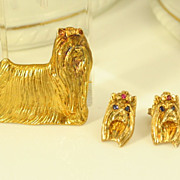 Vintage Gilt Sterling Silver Pin & Earrings Set Yorkshire Terrier Yorkie Dog