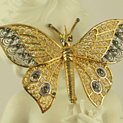 SALE Alice Caviness Gilt Sterling Silver Filigree Butterfly Pin Brooch Germany