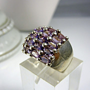 Vintage Sterling Silver Cocktail Ring with Purple Stones