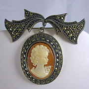 Vintage Sterling Silver Cameo Pin Brooch