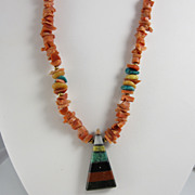 Vintage Artisan Natural Coral Necklace w/ Stone Pendant