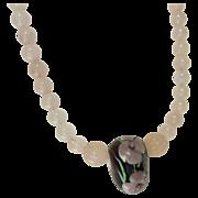 Vintage Pink Rose Quartz Necklace with Glass Flower Bead Pendant