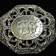 Sterling Silver Pin Jewish National Women's League Pin Hebrew 1918-1968