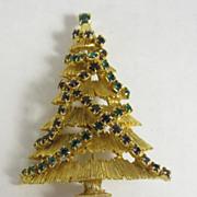 Vintage Christmas Tree Pin Green & Red Rhinestone Garland JJ