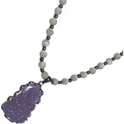 Vintage 925 Silver Mother of Pearl Necklace & Purple Jadeite Buddha Pendant