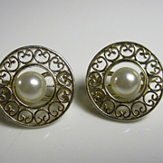 Vintage Filigree Sterling Silver & Faux Pearl MMA BMCO Earrings