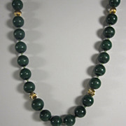 Vintage Necklace Green Malachite 10 mm Beads and 14k Yellow Gold