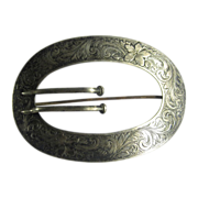 Antique Victorian Sterling Silver Larve Oval Belt Buckle Pin Brooch