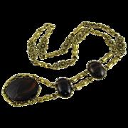 Vintage Gold Tone Necklace w/ Large Brown Glass Pendant 1980s