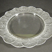 "Signed Lalique Crystal France Honfleur Plate 8"" Geranium"