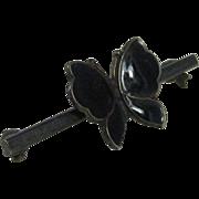 Vintage Sterling Silver & Black Enamel Butterfly Pin by Meka Denmark