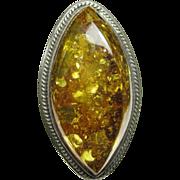 Large Vintage Ring Sterling Silver & Baltic Amber