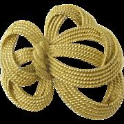 Vintage Trifari Gold Tone Bow Pin Brooch