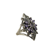 Beautiful Sterling Silver & Purple Stones Flower Ring