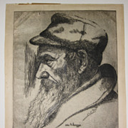 Etching of Polish Jew by American Jewish Artist Elias M. Grossman (1898-1947)