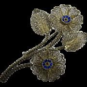 Vintage Filigree 800 Silver & Blue Enamel Flower Pin