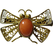 European Filigree Gilt 800 Silver & Pink Coral Butterfly Pin