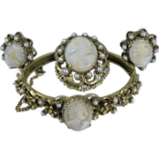 Vintage Florezna Cameo Set Bracelet Clip Earrings & Brooch