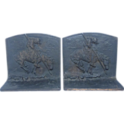 Vintage Cast Iron  Indian Warrior Bookends