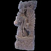 Antique Balinese or Indian Wooden Sculpture Vishnu Riding Garuda