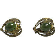 Filigree Sterling Silver & Green Spinach Jade Cabochon Chinese Cufflinks