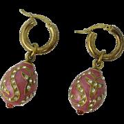 Vintage Italian Sterling Silver & Pink Enamel Egg Earrings Italy