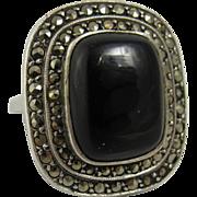 German Art Deco Sterling Silver & Black Onyx Ring