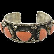 Vintage Sterling Silver & Pink Stones Cuff Bracelet