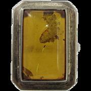 Vintage 1980s Sterling Silver & Natural Amber Ring