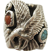 Vintage Native American Sterling Silver Turquoise & Coral Eagle Ring