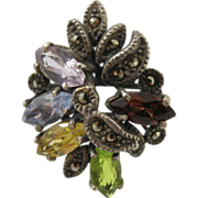 Vintage Sterling Silver Multi-Color Stones Flower Ring