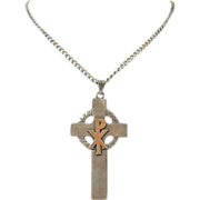 SALE Sterling Silver & 10k Yellow Gold Chi Rho Celtic Cross Pendant