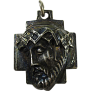 SALE Vintage Sterling Silver Christ 3D Pendant by Chapel