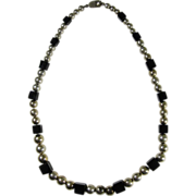 SALE Mexican Sterling Silver Beads & Onyx Cubes Necklace