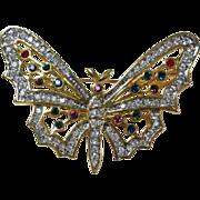 SALE Vintage Butterfly Rhinestones Brooch Pin