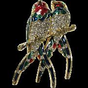 SALE Vintage Pair of Parrots Enamel & Rhinestones Brooch Pin