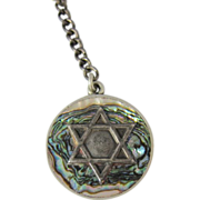 SALE Vintage 925 Silver & Abalone Jewish Star of David Key Chain