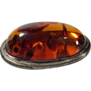 SALE Vintage Baltic Amber & Sterling Silver Brooch Poland