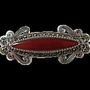 Marcasite Sterling Silver & Dark Red Carnelian Brooch Pin