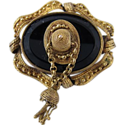 SALE Antique Victorian 15k Yellow Gold & Black Onyx Brooch