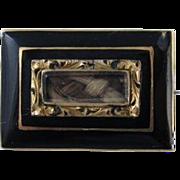 SALE Antique Victorian Black Enamel 14k Gold Mourning Hair Pin