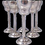SALE Set of Six Art Deco Polish Vodka Cups 800 Silver Cracow Poland