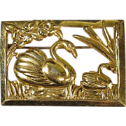 SALE Vintage Gilt Sterling Silver Swan Brooch by Coro
