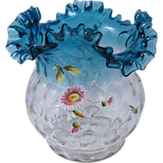 SALE Victorian Dot Ruffled Fluted Flower Vase Clear & Blue Glass