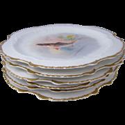 SALE Set of Six Limoges Hand Painted Porcelain Fish Plates France