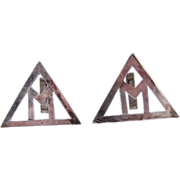 "SALE Brutalist Hand Made Sterling Silver ""M"" Large Triangle Cufflinks"
