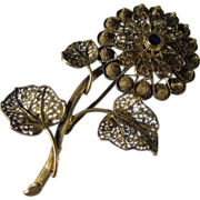 SALE Vintage Gilt Filigree 833 Silver & Blue Sapphire Flower Pin Brooch 1940s