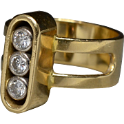 SALE Modernist 1970s 18k Yellow Gold & Diamonds Designer Ring