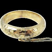 SALE Vintage Sterling Silver Gold Washed Etched Bangle Bracelet